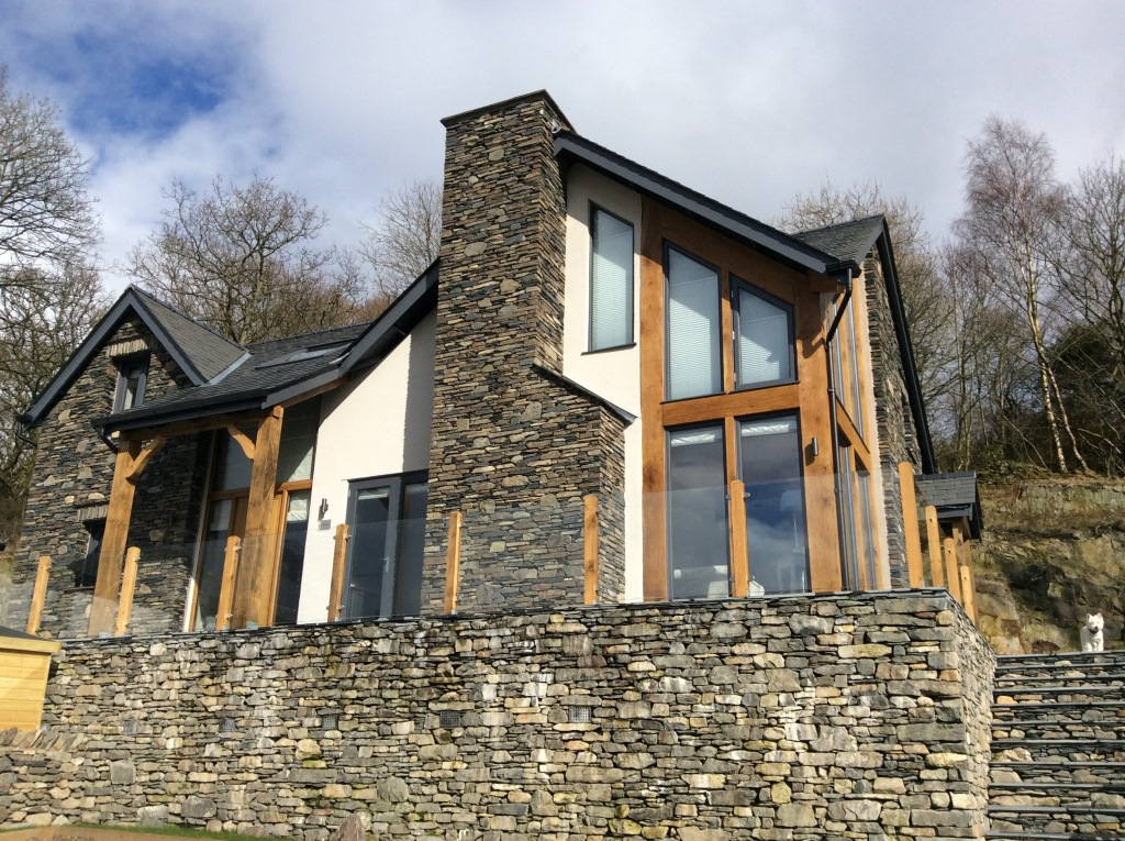 Slate Stone Elevation : Self build timber frame cumbria